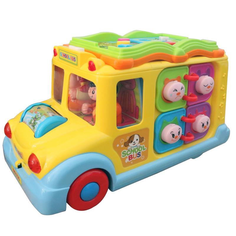 汇乐玩具796智育校园巴士 儿童益智车 电动车万向拖拉车公共汽车