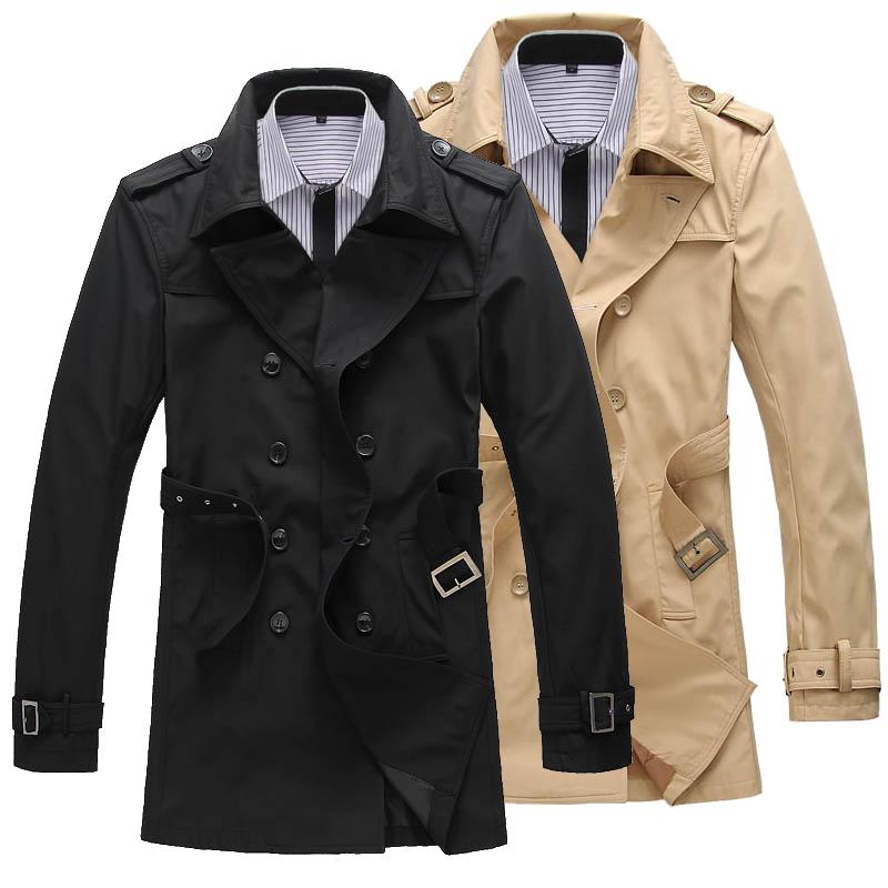 Осень 2014 тонкий Корейский досуг одежда ветровка мужчин длинное пальто Мужская двойной грудью пальто