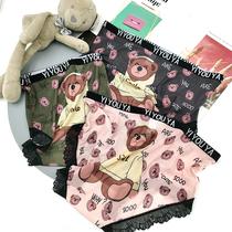 新款大码内裤女高腰胖200斤性感蕾丝透气网纱网红卡通小熊三角裤