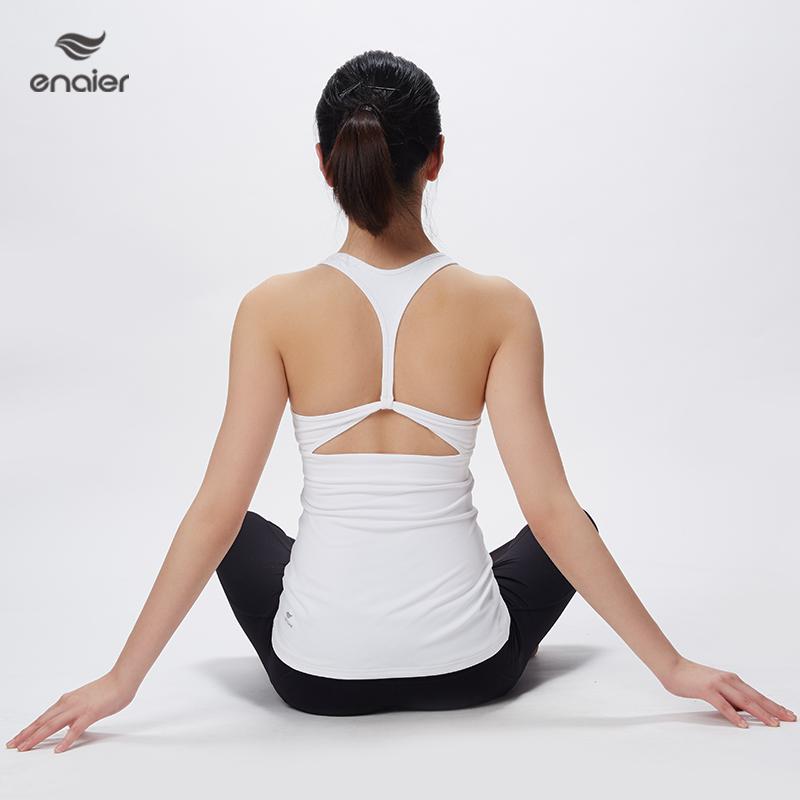E奈尔 简约新款专业瑜伽服背心 女士健身上衣含胸垫带胸垫172028