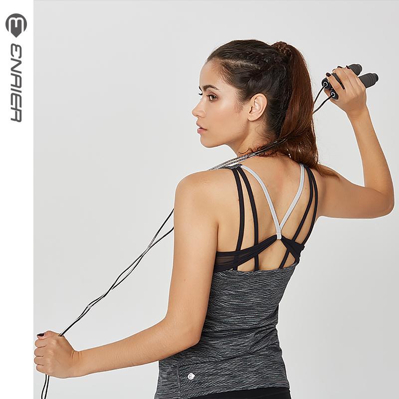 E奈尔瑜伽服背心带胸垫 新款弹力紧身速干性感健身服带胸垫172041
