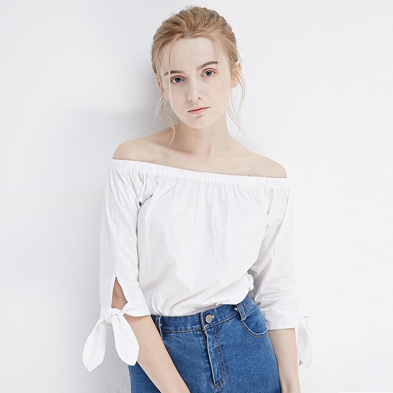 iFashion2017春秋白色衬衣一字领露肩褶皱衬衫女蝴蝶结五分袖上衣