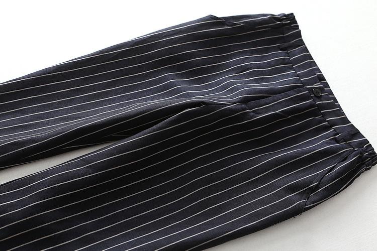 外贸尾单出口欧美国女装 条纹两侧松紧腰透气亚麻锥形九分休闲裤