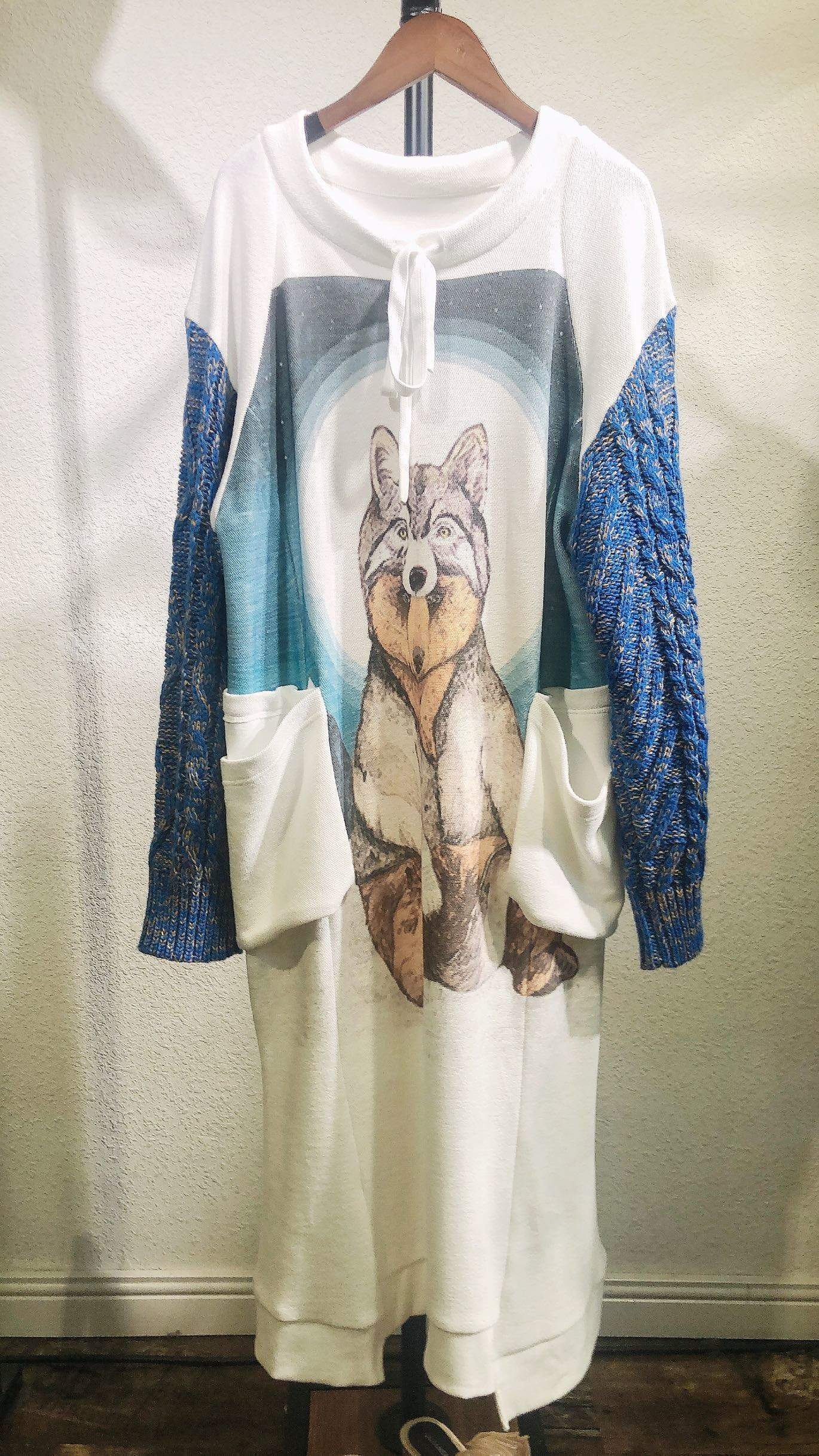自由的态度家台湾原创设计师品牌2019年早冬新款拼接卡通卫衣长裙