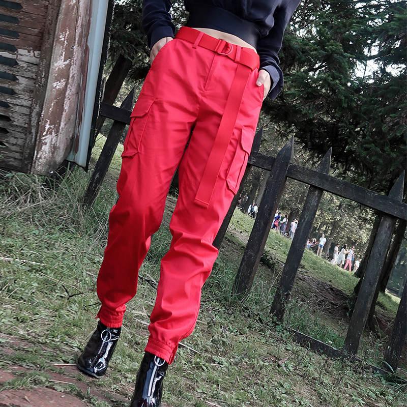 秋季束脚九分小个子宽松bf风显瘦酷帅气嘻哈街头红色工装裤 女11-29新券