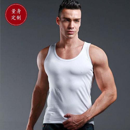 定制夏季新款男士健身运动紧身白色圆领背心纯棉打底衫大码上衣