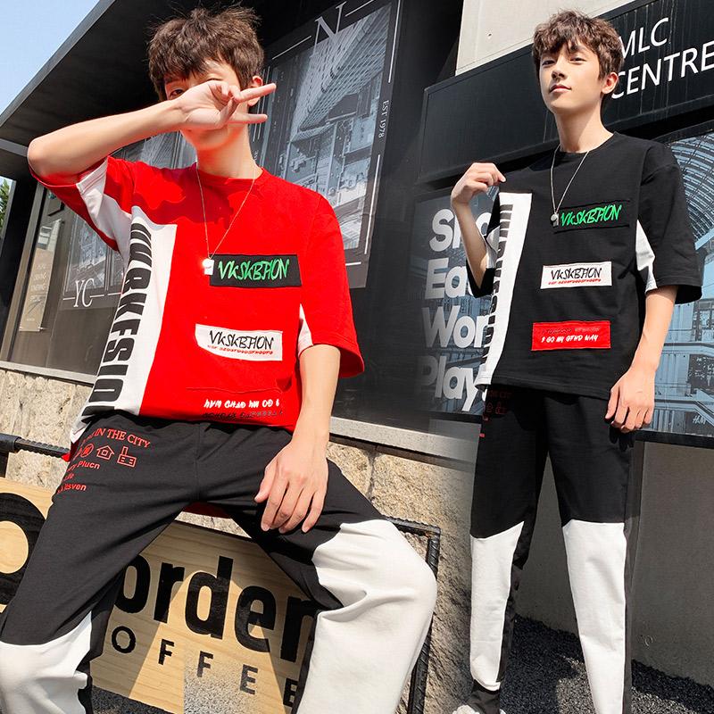 19夏装休闲运动套装男夏季中袖T恤两件套男士长裤跑步服D638P68