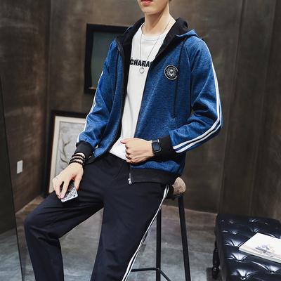 2018冬季休闲套装加绒加厚青年男装男运动套装卫衣套装D505S98