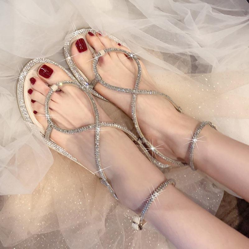罗马网红新款夏季夹脚水钻蛇形凉鞋