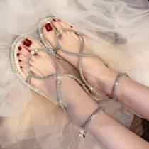 A9305134WX夏季新品波西米亚坡跟女鞋透气编织凉鞋2019千百度女鞋