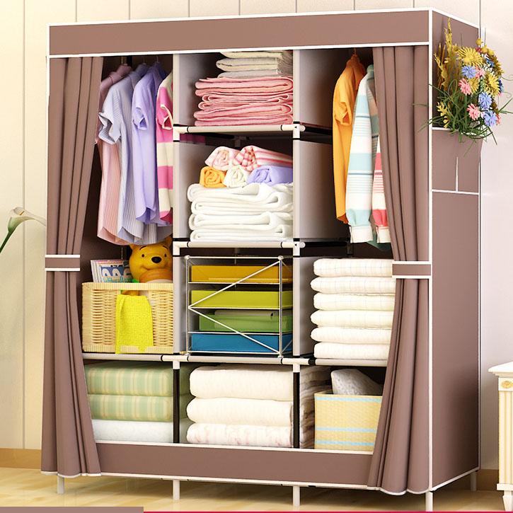 雙人簡裝衣櫃簡易布藝無紡布廚子布衣櫃不鏽鋼拼裝結實活動衣櫥