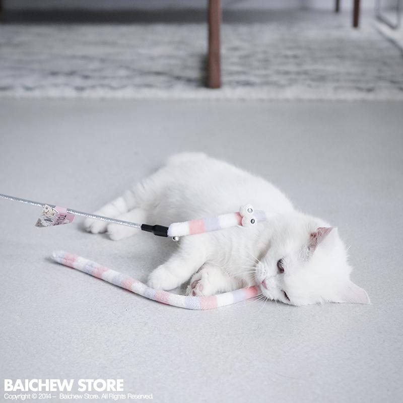 白猪商店 花园鳗逗猫棒 可笑猫玩具带铃铛逗猫杆毛毛虫猫玩具
