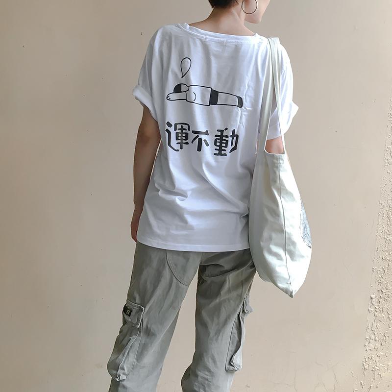 【59�杉�】�r游 趣味�\不���松短袖T恤后背�D案印花夏新怪味少女