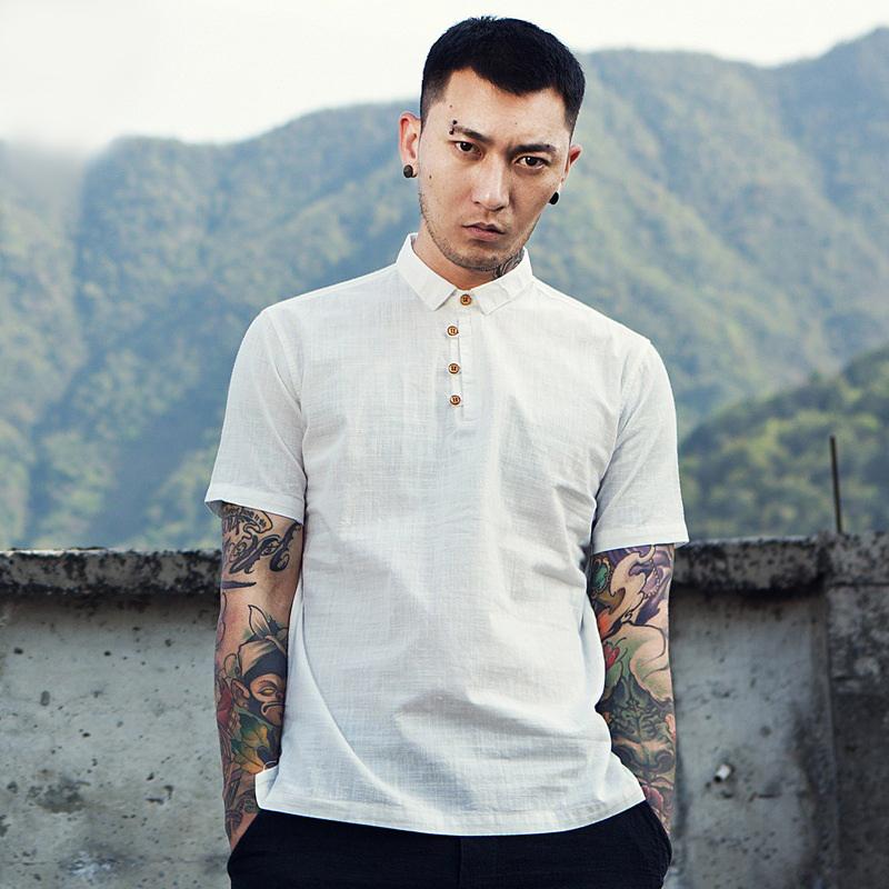 夏季新款男士棉麻短袖衬衫日系修身休闲亚麻衬衣中国风麻衬衫