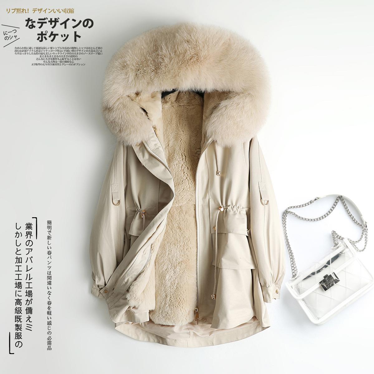 Pie overcome womens new medium long Rex Rabbit Fur liner detachable fox fur collar coat fur coat