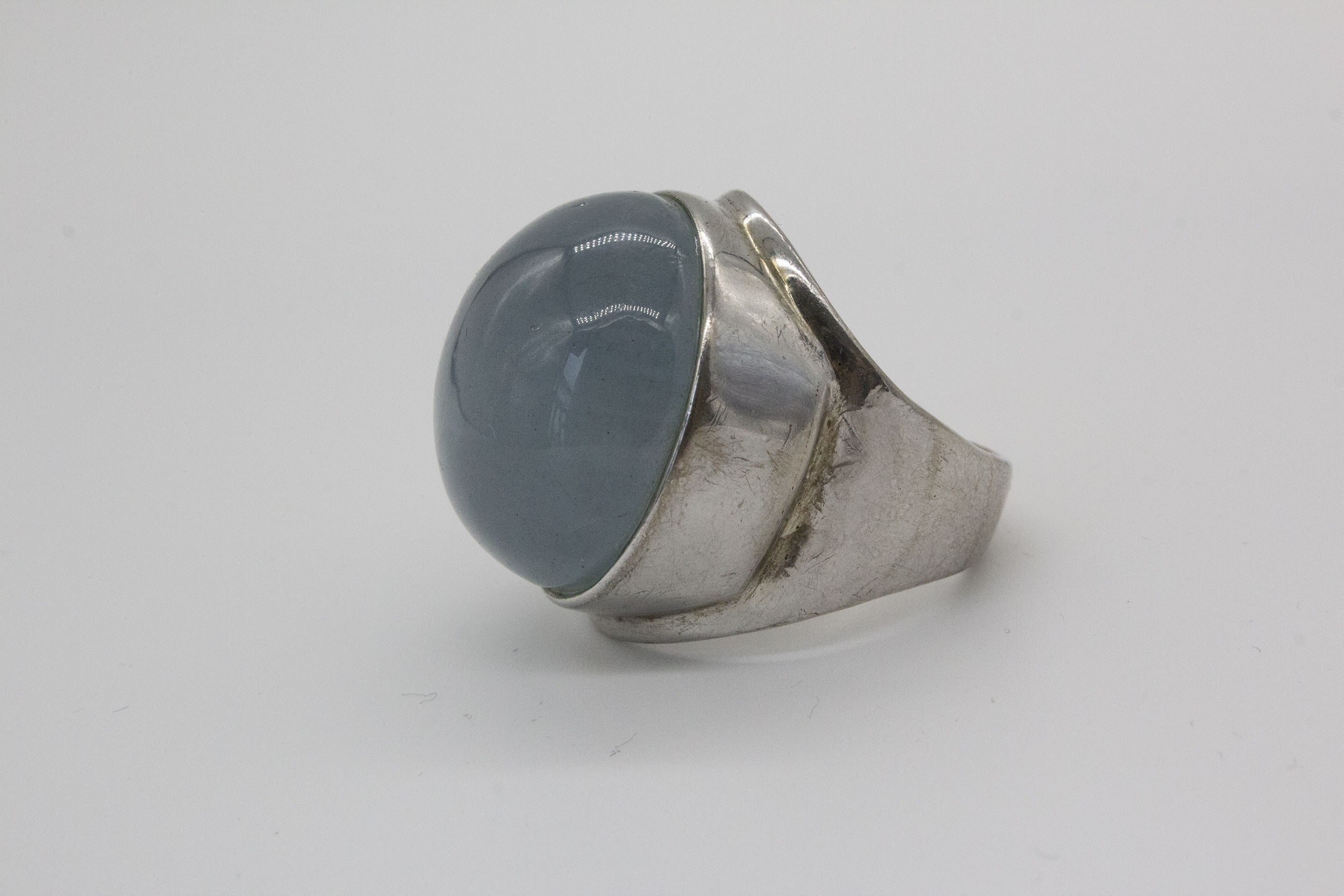 [can art] pure natural Aquamarine Ring natural gemstone high grade Aquamarine Silver Ring
