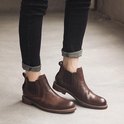 冬季真皮雕花切尔西男靴子男士皮靴潮工装靴马丁靴 893-F265