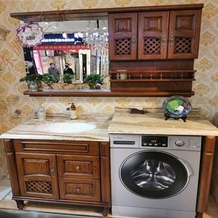 红橡木美式浴室柜洗衣机柜镜柜组合开放漆落地洗手台洗衣柜类定制图片