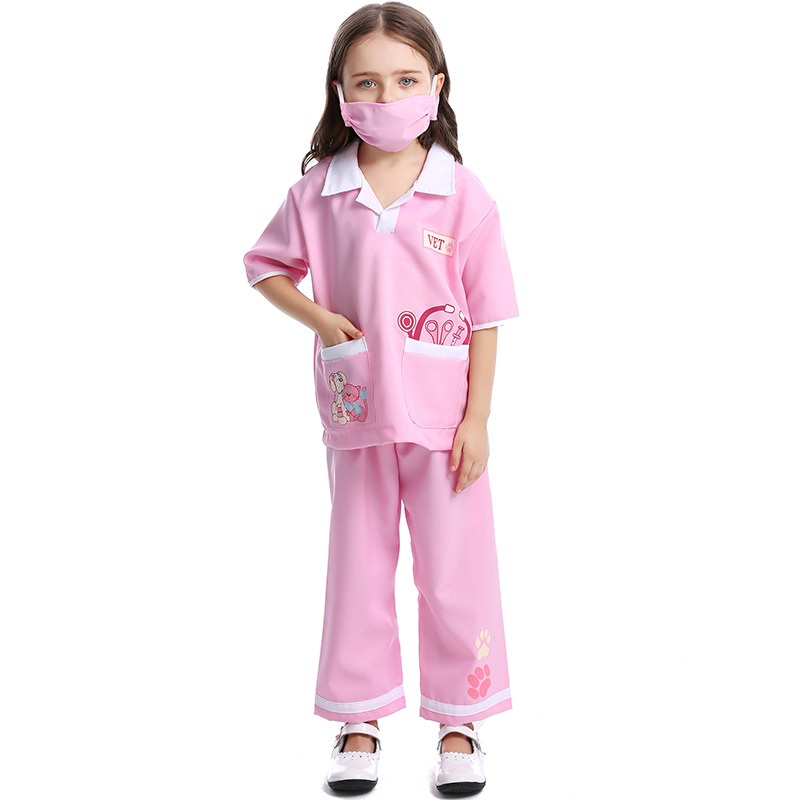 Foreign trade quality lovely childrens veterinary clothing men and women can choose childrens role-playing medical staff clothing