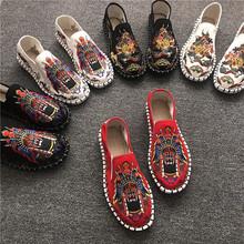 老北京布鞋男刺绣社会鞋子懒人一脚蹬透气韩版潮流中国风快手网红