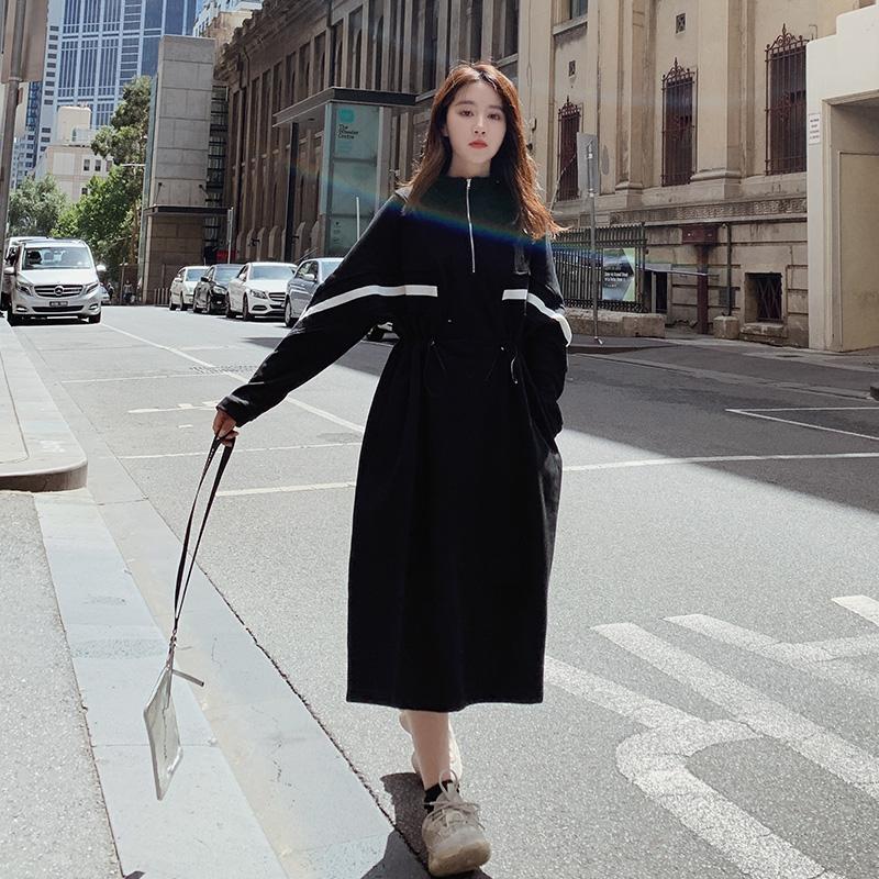 现货 2020年新春款赫本风黑色卫衣连衣裙 XW066 P110 K168