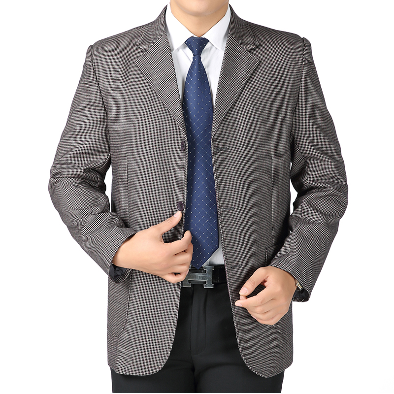 Mens casual suit, 40-50-60 years old, spring and autumn fathers suit, three button top, middle-aged and old mens large coat