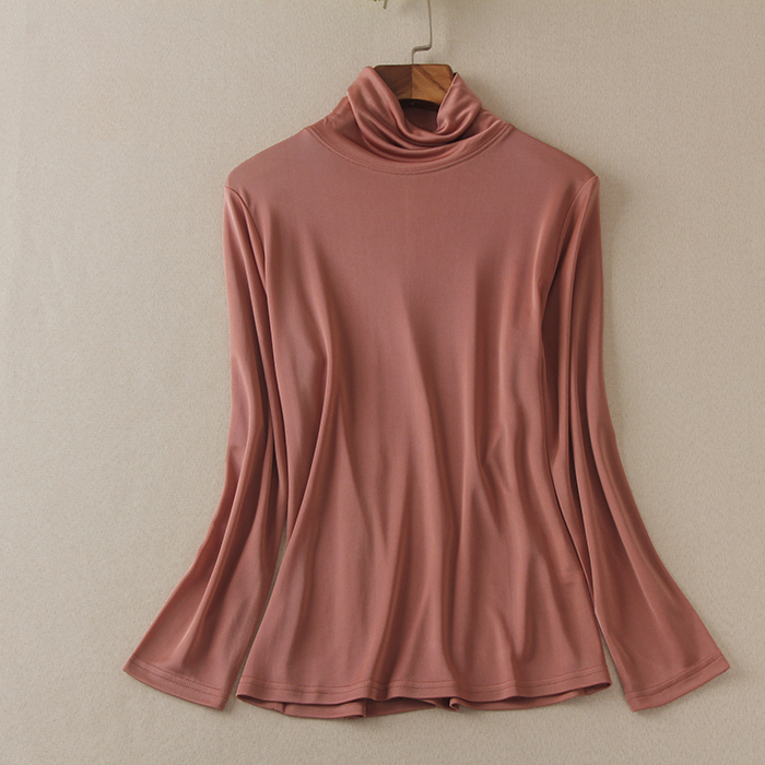 Spring and autumn new basic silk T-shirt womens silk knitted shirt long sleeve high collar shirt
