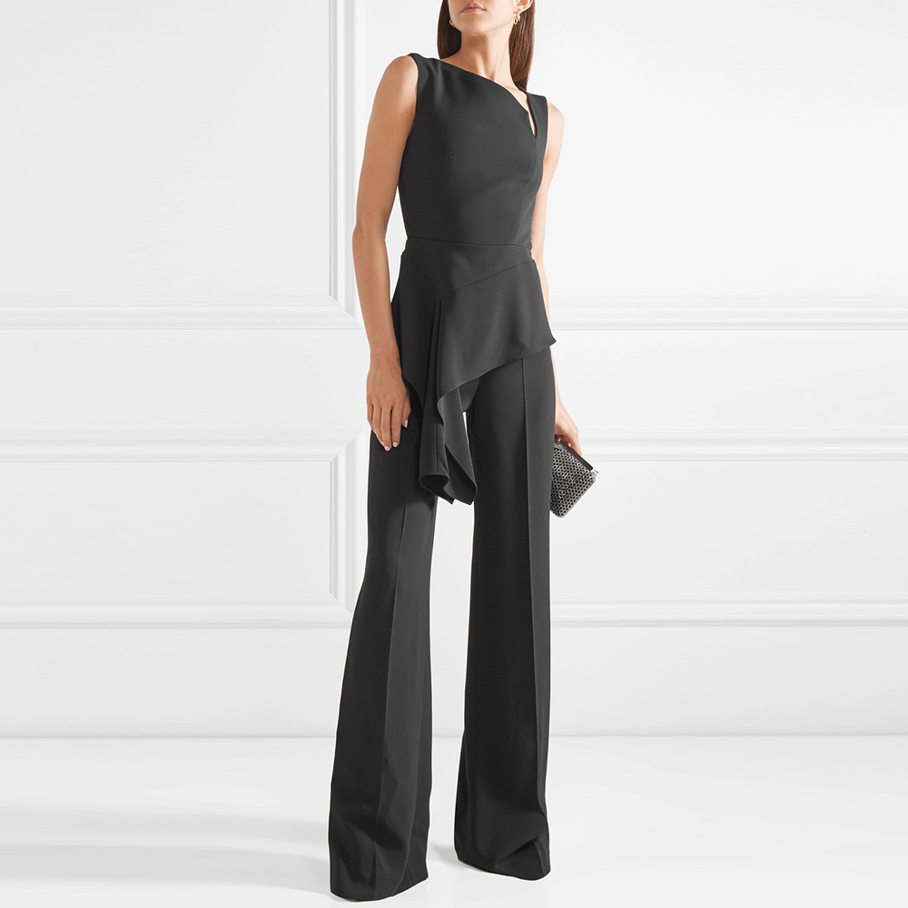 Galeri chic tailor made European and American black cuff free crepe Jumpsuit dress