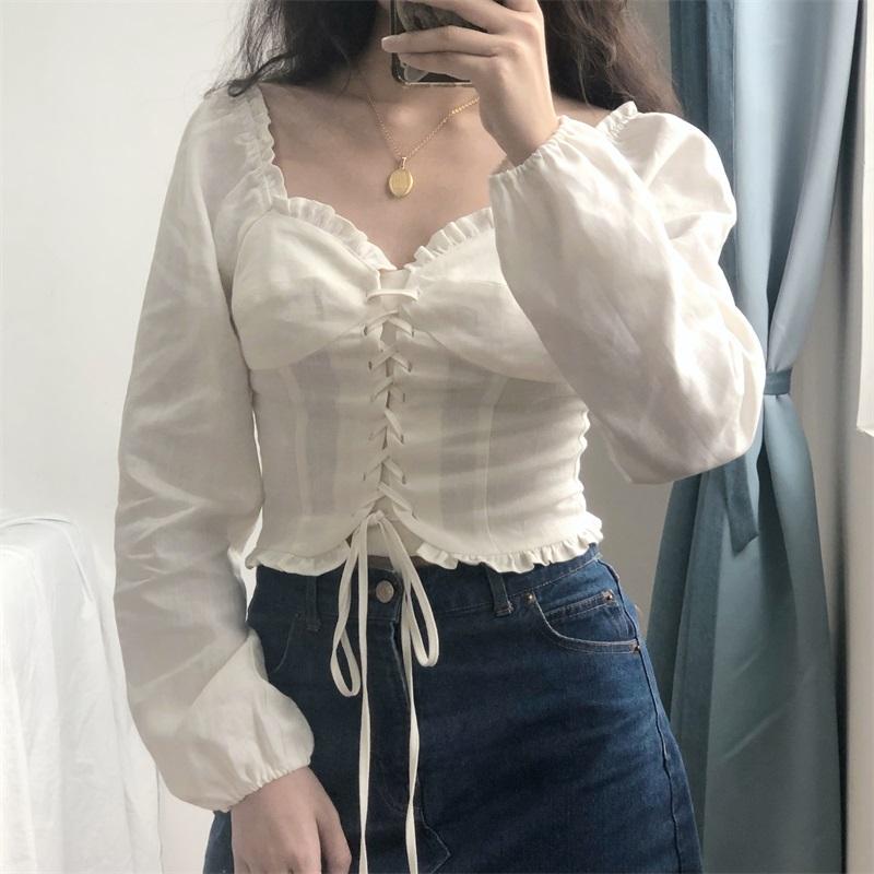 Go Girl Go 自制洛丽塔复古格子小衫木耳边绑带长袖衬衫女上衣