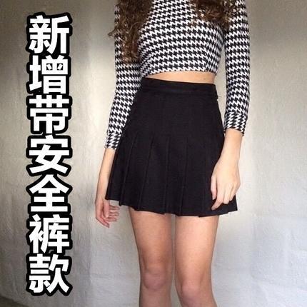 Go Girl Go版型超好美式复古水原希子带安全裤高腰显瘦百褶裙短裙