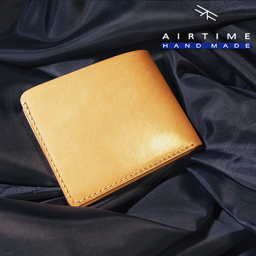 Original manual cowhide wallet mens short hand sewn short wallet imported vegetable tanned leather cattle leather banknote clip