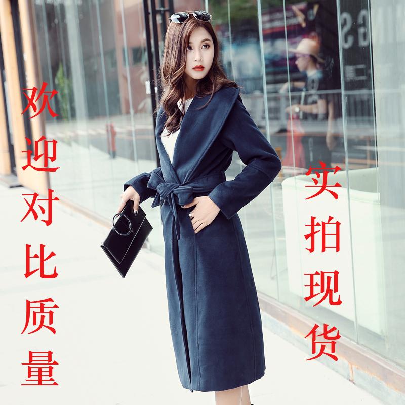 韩版长款毛呢外套2018秋冬女装精品腰带呢子大衣实拍现货
