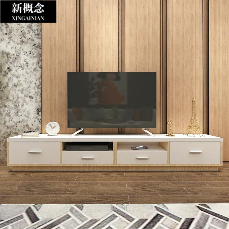 原木简易宜家老款意式极简港式轻奢拼色电视柜茶几组合轻奢风