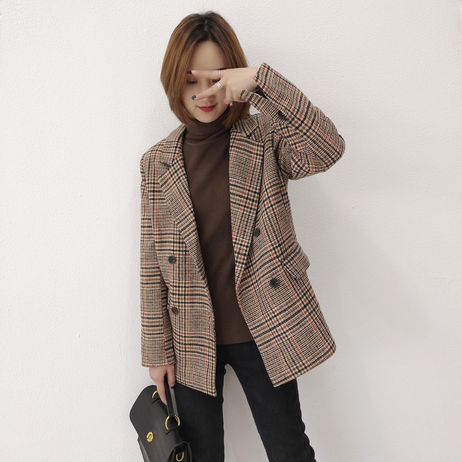 福利 JPH-9603韩版时尚休闲毛呢格子小西装外套图片