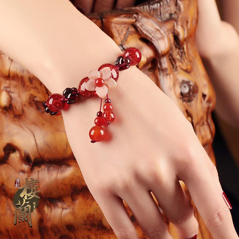 古风民族风红绳手链女石榴石手串韩版简约个性琉璃手饰复古装饰品