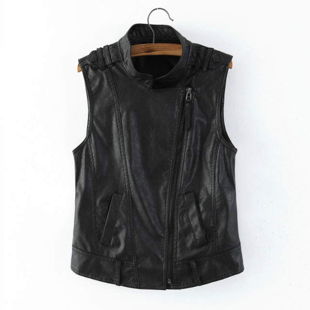 European and American spring and summer new zipper Pu Motorcycle Vest for women short slim waist large women leather jacket