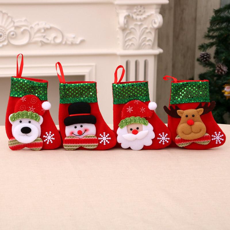 Блестки санта-клаус рождество носок трехмерный рождество носок рождество носки рождество подарок мешок рождество декоративный