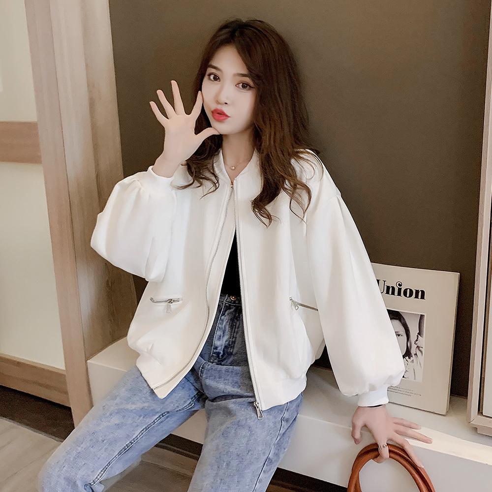 白色棒球服女外套2021年新款女韩版宽松百搭麂皮绒夹克短款上衣