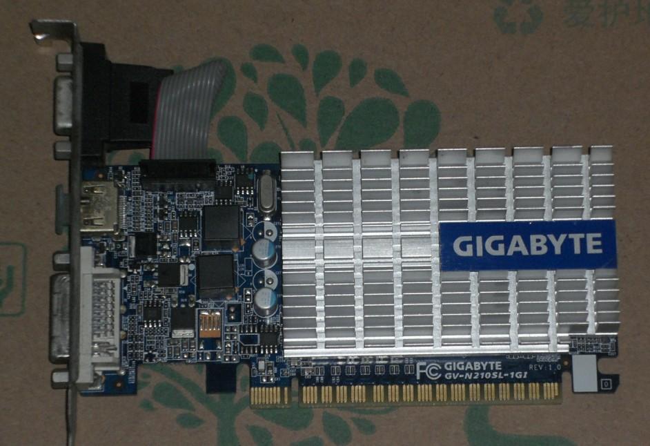 技@嘉GV-N210SL-1GI GT210显卡 真实1G显存 静音版 实物图 完好