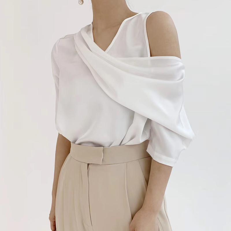 2020夏季新款韓版單露肩雪紡衫女短袖緞面氣質高檔雪紡襯衫上衣