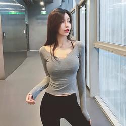 网红紧身健身瑜伽服跑步性感t恤