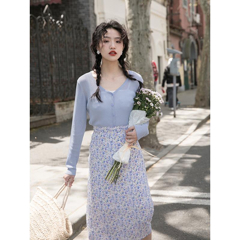 觅定 蓝色外搭防晒衫bm冰丝针织开衫外套女夏季薄款短款上衣白色