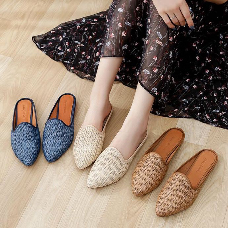 2020 new deerskin inner lining comfortable pointed half drag rattan grass woven Muller shoes wearing Baotou slippers