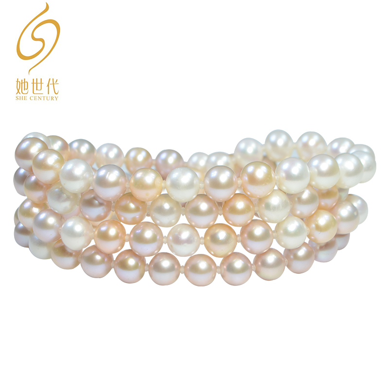Her generation 8-9mm natural pink freshwater pearl necklace, womens near round strong light, atmospheric and elegant long style