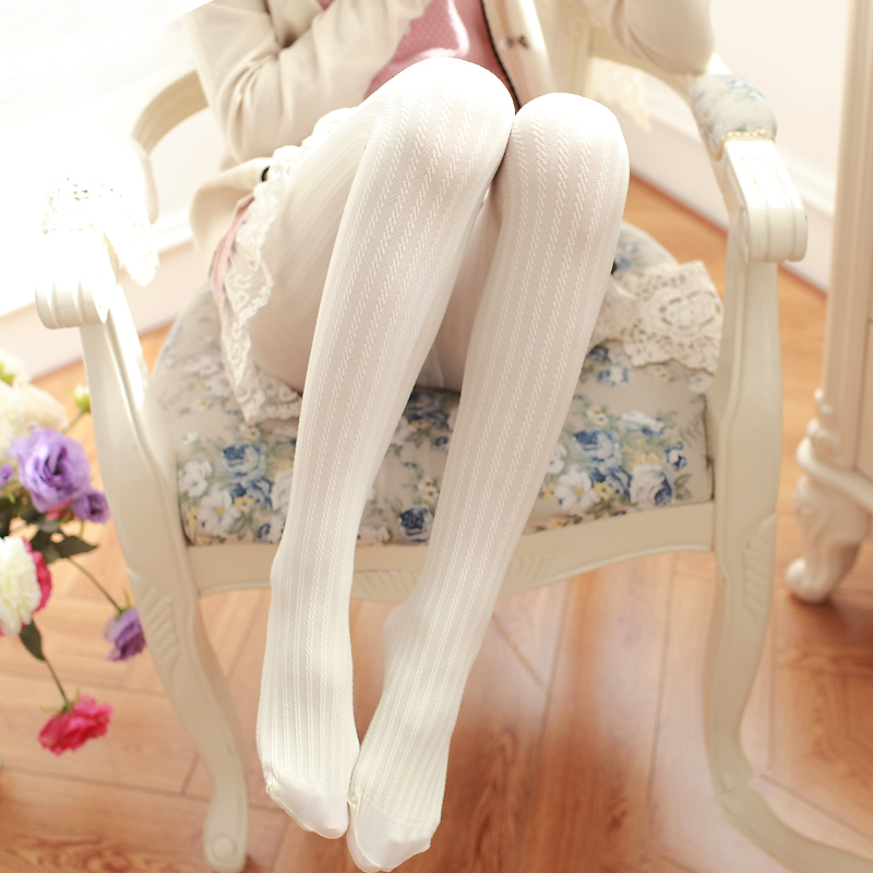 限4000张券日系丝袜白色竖条纹连裤袜春季打底袜防勾丝连脚中厚长袜子女裤袜