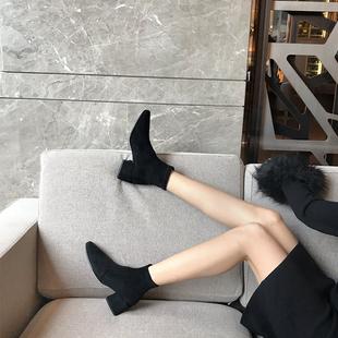 COVONTY 老果家 SW靴子粗跟弹力短靴女中跟ins网红瘦瘦裸靴单靴