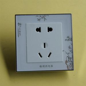 格利西中式白色水晶面板86型暗装墙壁电源插座二三极五孔插座钢架