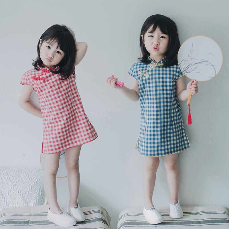 女童旗袍夏公主裙小童宝宝中国风格子连衣裙短袖儿童旗袍中式纯棉