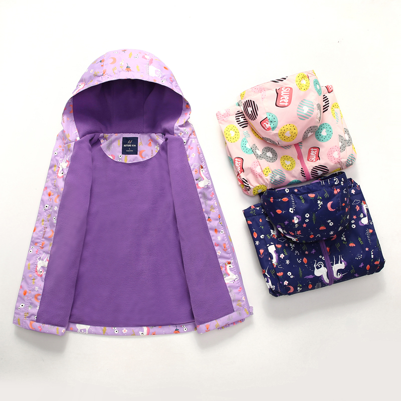 Girls coat with cotton thickened autumn and winter clothes 2020 new spring assault coat middle school childrens windproof childrens coat fleece