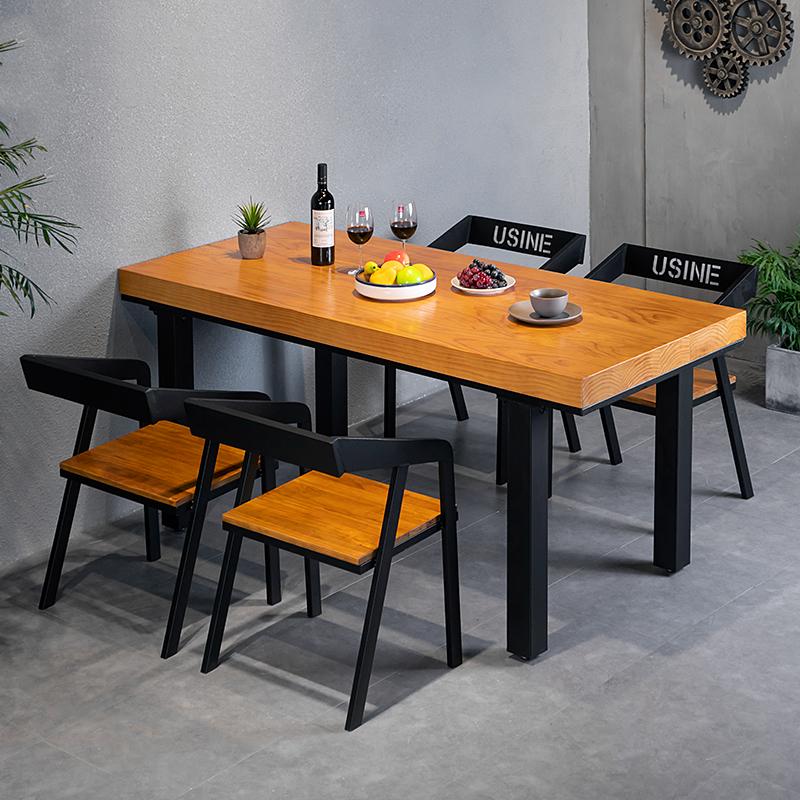 工业风铁艺实木餐桌椅组合现代简约小户型休闲咖啡厅餐厅洽谈桌子